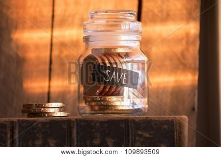 Save Idea, Gold Coins In A Glass Jar