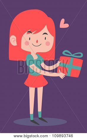 Cute Girl Holding A Wrapped Present