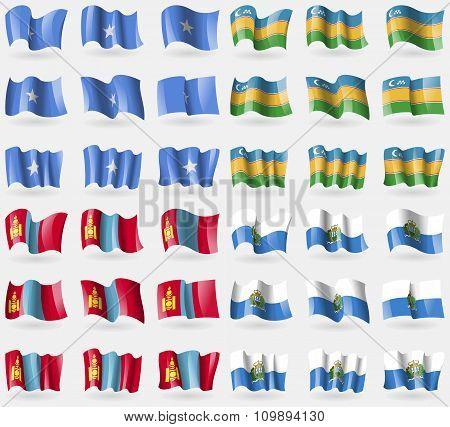 Somalia, Karakalpakstan, Mongolia, San Marino. Set Of 36 Flags Of The Countries Of The World.