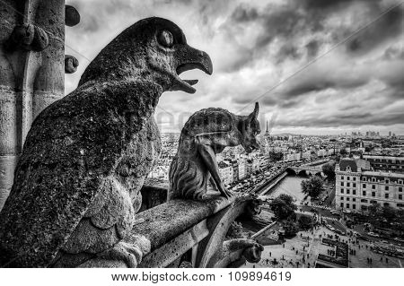Gargoyles and chimera statues of Notre Dame over Paris, France skyline. Dark clouds, vintage black and white