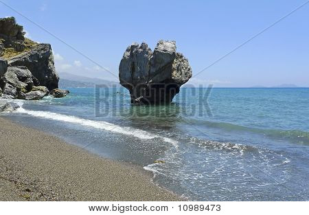 Famous Rock On Preveli Beach