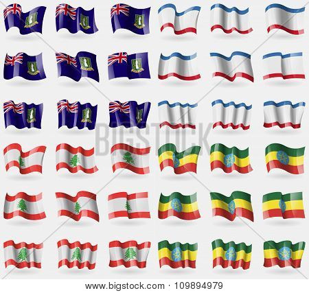 Virginislandsuk, Crimea, Lebanon, Ethiopia. Set Of 36 Flags Of The Countries Of The World.