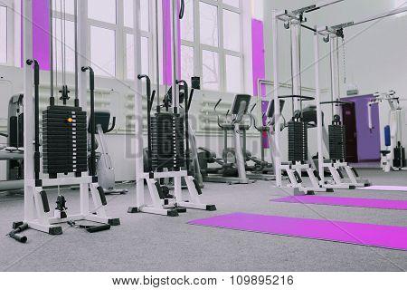 Gym centre interior. Equipment, gym apparatus.