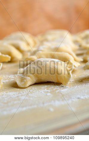 Preparing fresh polish pierogies pasta