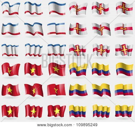 Crimea, Guernsey, Vietnam, Colombia. Set Of 36 Flags Of The Countries Of The World.