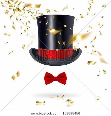 Cylinder Hat With Bow Tie And Confetti