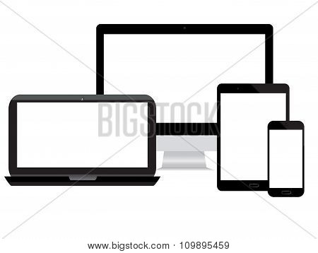 monitor, computer, laptop, phone on a white background