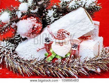 Christmas holiday decorations with snow and Santa