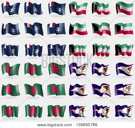 French And Antarctic, Kuwait, Bangladesh, American Samoa. Set Of 36 Flags Of The Countries Of The
