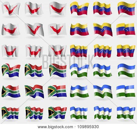 Easter Rapa Nui, Venezuela, South Africa, Bashkortostan. Set Of 36 Flags Of The Countries Of The