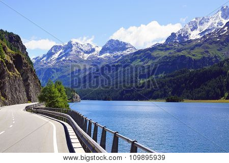 Picturesque nature landscape with lake. St. Moritz