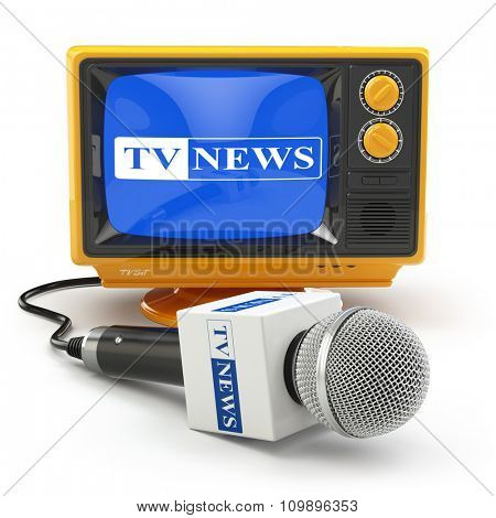 Tv news or reportage concept. Microphone and television. 3d
