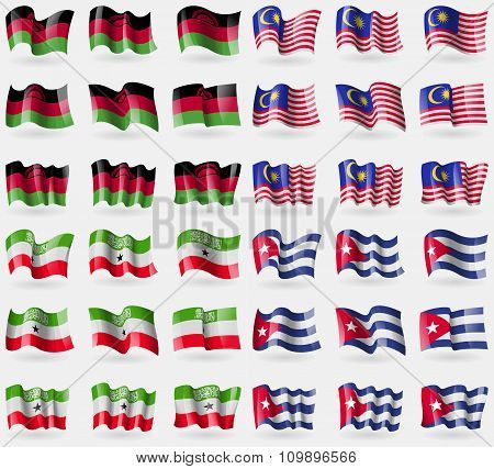 Malawi, Malaysia, Somaliland, Cuba. Set Of 36 Flags Of The Countries Of The World.