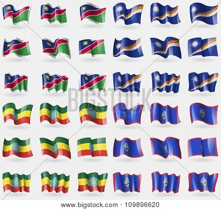 Namibia, Marshall  Islands, Ethiopia, Guam. Set Of 36 Flags Of The Countries Of The World.