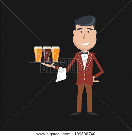 Waiter With Three Glasses Of Beer.