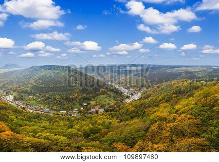 Panorama Of Autumn forest, Lilienstein Mountain
