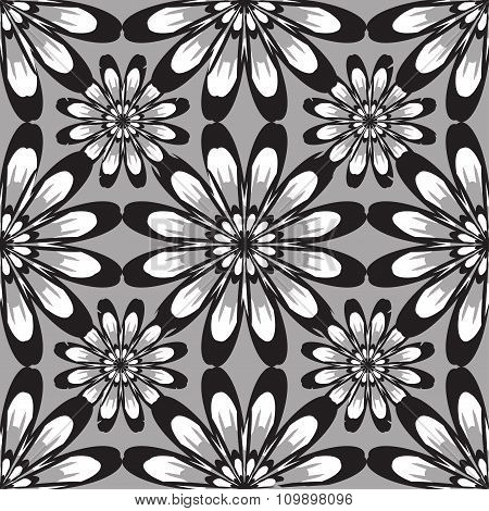 Seamless Pattern With Flowers. Vintage Texture. Monochrome Backdrop. Black And White Daisies.