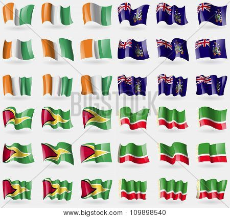 Cote Divoire, Georgia And Sandwich, Guyana, Chechen Republic. Set Of 36 Flags Of The Countries