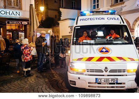 Civil Protection Truck Surveilling City Streets Surveilling Christmas Market