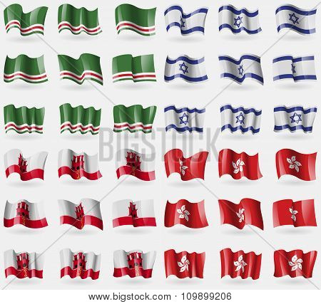 Chechen Republic If Ichkeria, Israel, Gibraltar, Hong Kong. Set Of 36 Flags Of The Countries