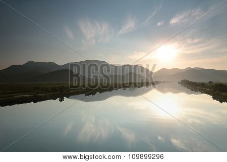 Neretva River in the valley of Dinaric mountains