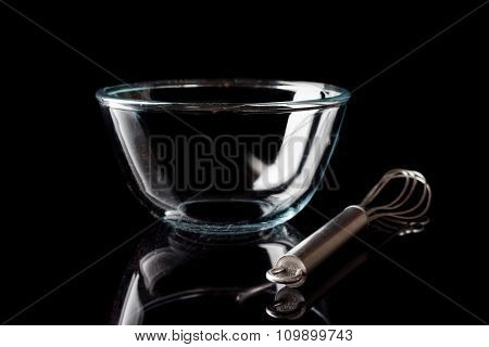 Glass bowl on black with whisker from side