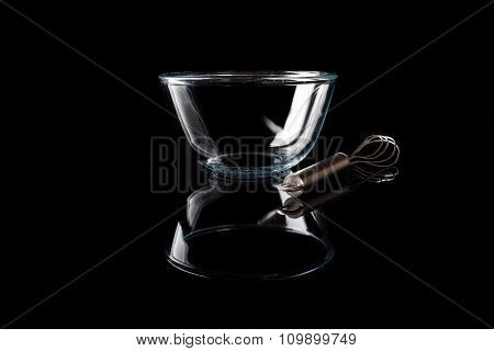 Glass bowl on black with whisker from side with reflection