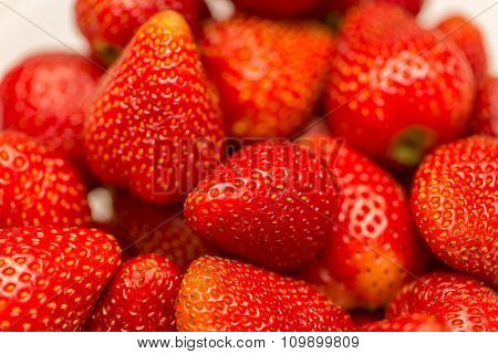 Strawberries arranged on the display