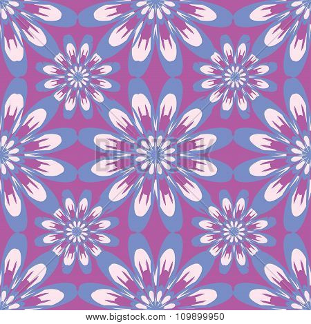 Seamless Pattern With Flowers. Vintage Texture. Monochrome Backdrop. Pink And Purple Background.
