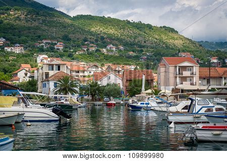 Montenegro traditional boats at fisherman's village