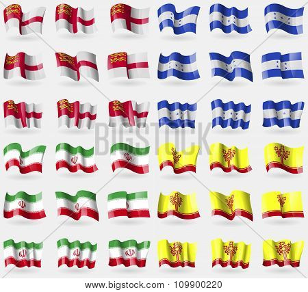Sark, Honduras, Iran, Chuvashia. Set Of 36 Flags Of The Countries Of The World.