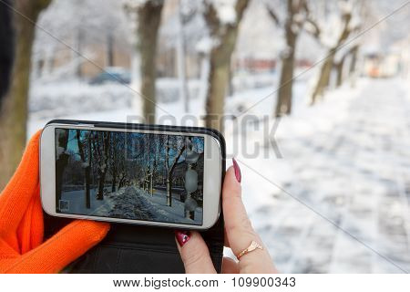 Phone winter photographing