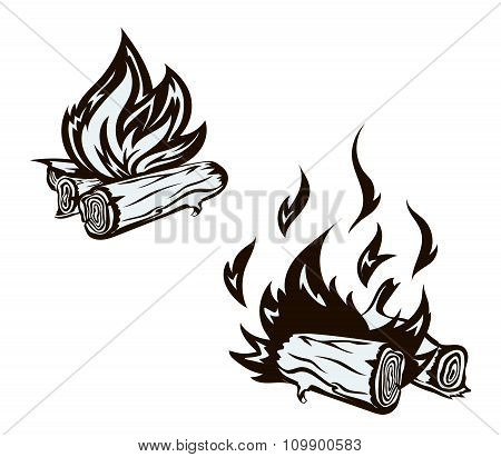 poster with hand drawn bonfire set. Flame and firewood , burn, fireplace  illustration