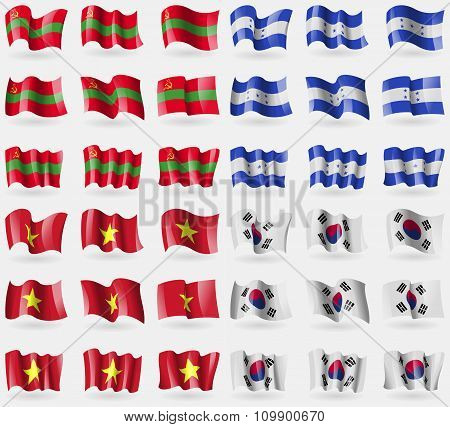 Transnistria, Honduras, Vietnam, Korea South. Set Of 36 Flags Of The Countries Of The World.