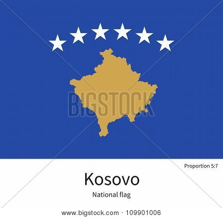 National flag of Kosovo with correct proportions, element, colors