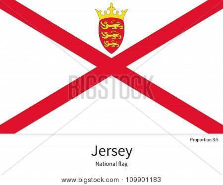 National flag of Jersey with correct proportions, element, colors