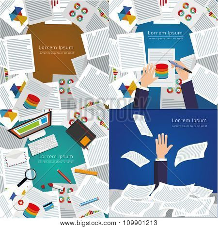 Set of modern vector illustration. Top view of desk background with digital devices, office objects with papers and documents.