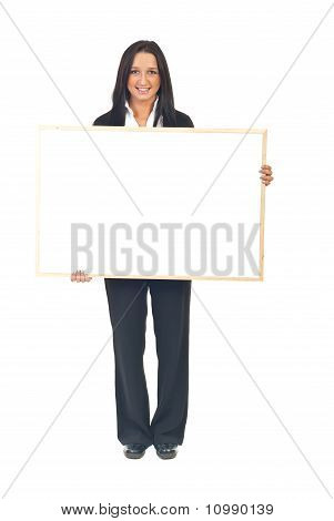 Young Executive Woman With Banner