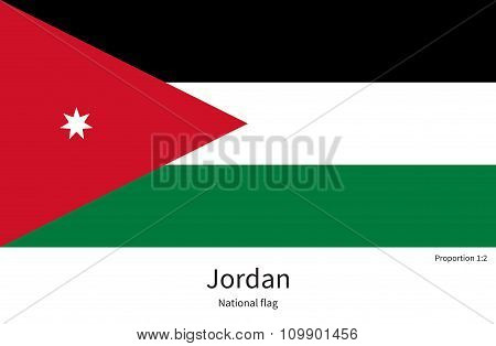National flag of Jordan with correct proportions, element, colors