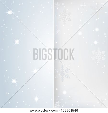 Snow, Stars and lights. Banner Christmas Background. Illustration