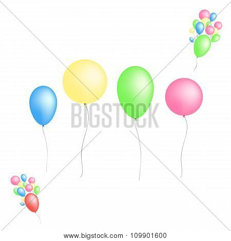 Color glossy balloons isolated on white background