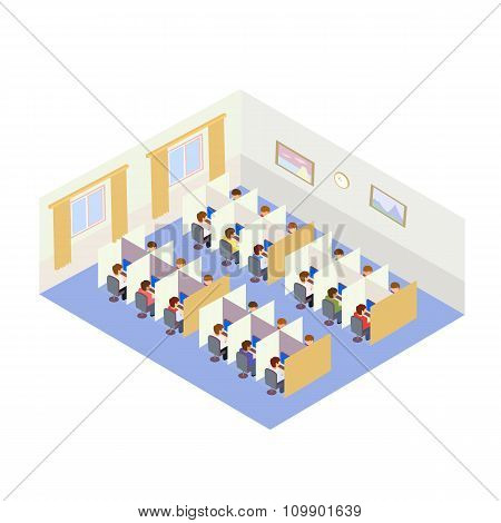 Call Center Jobs People. Isometric style