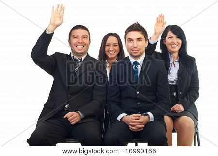 Business People Raise Hands