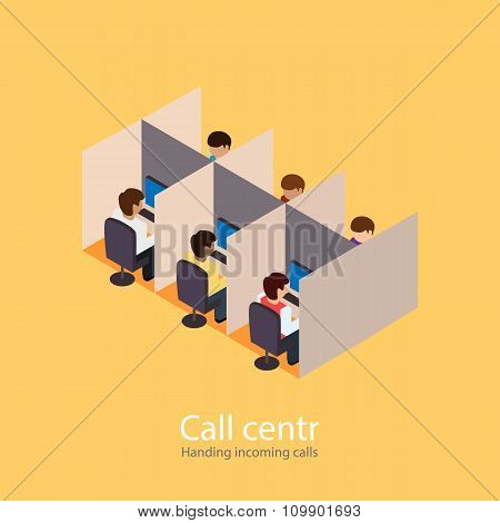 Call centr. incoming calls. Incoming line. Isometric