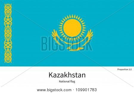 National flag of Kazakhstan with correct proportions, element, colors