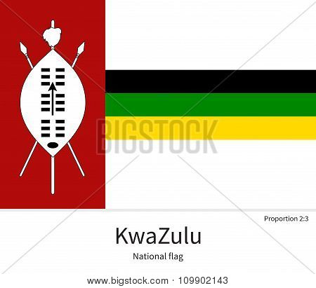 National flag of KwaZulu with correct proportions, element, colors