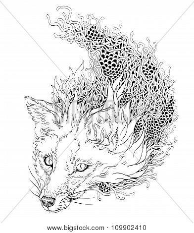 FOX head tattoo. psychedelic. zentangle