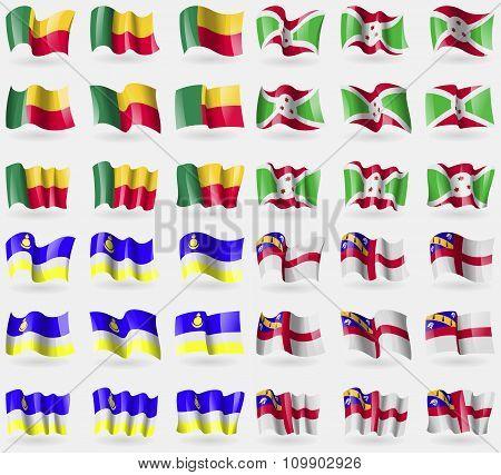 Benin, Burundi, Buryatia, Herm. Set Of 36 Flags Of The Countries Of The World.