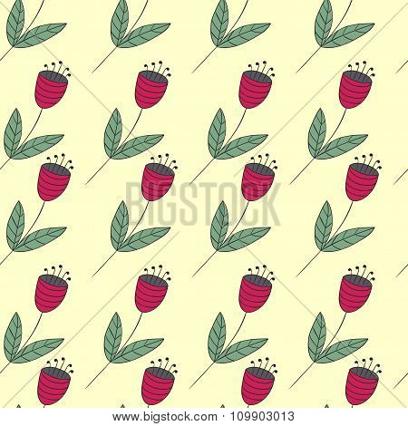 Cute Bellflowers Seamless Pattern. Vintage Summer Background. Red Flat Flowers. Floral Texture.