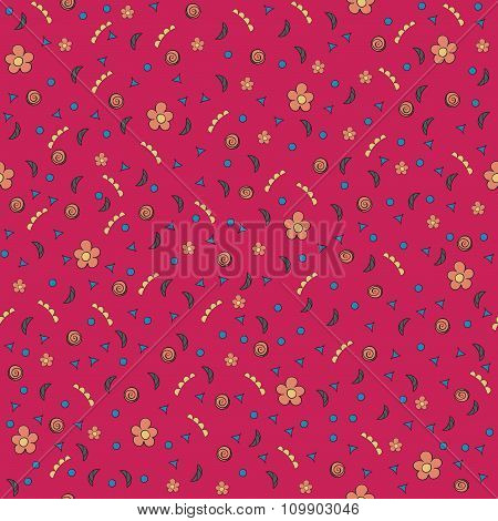 Cute Tiny Flowers And Elements. Seamless Pattern. Vintage Red Background. Floral Texture.